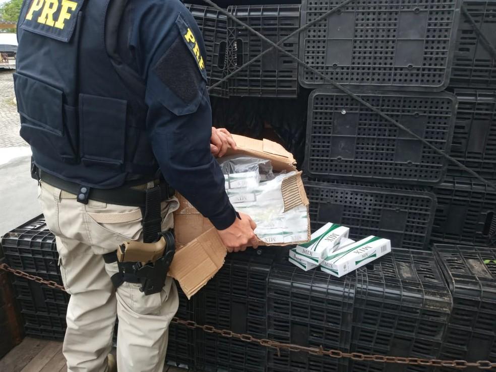PRF encontra 85 mil carteiras de cigarro contrabandeadas em Fortaleza. — Foto: Divulgação/PRF