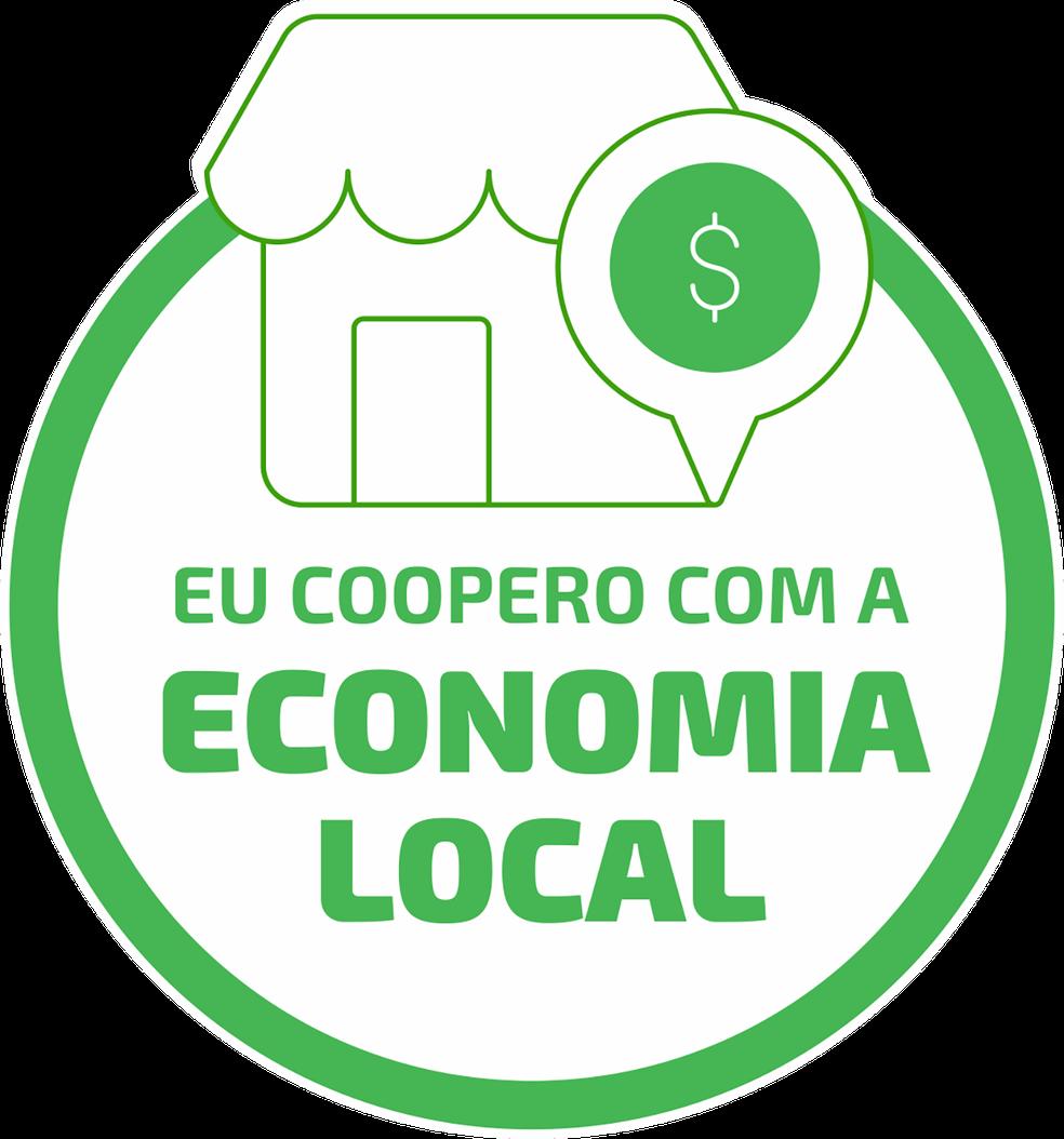 """Campanha """"Eu Coopero com a Economia Local"""" leva este selo como tema.— Foto: Divulgação"""