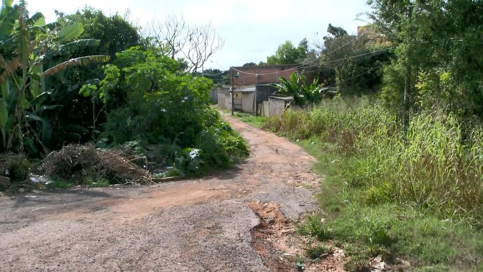 Depois do crime, corpo foi encontrado perto de matagal na Serra  — Foto: Reprodução/TV Gazeta