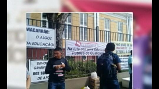 Professores de Tailândia, nordeste do Pará, fazem protesto em Belém