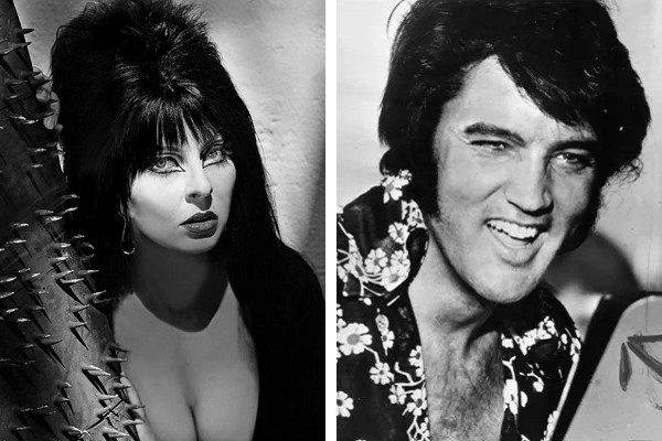 Cassandra Peterson como 'Elvira'; e Elvis Presley (Foto: Instagram / Getty Images)