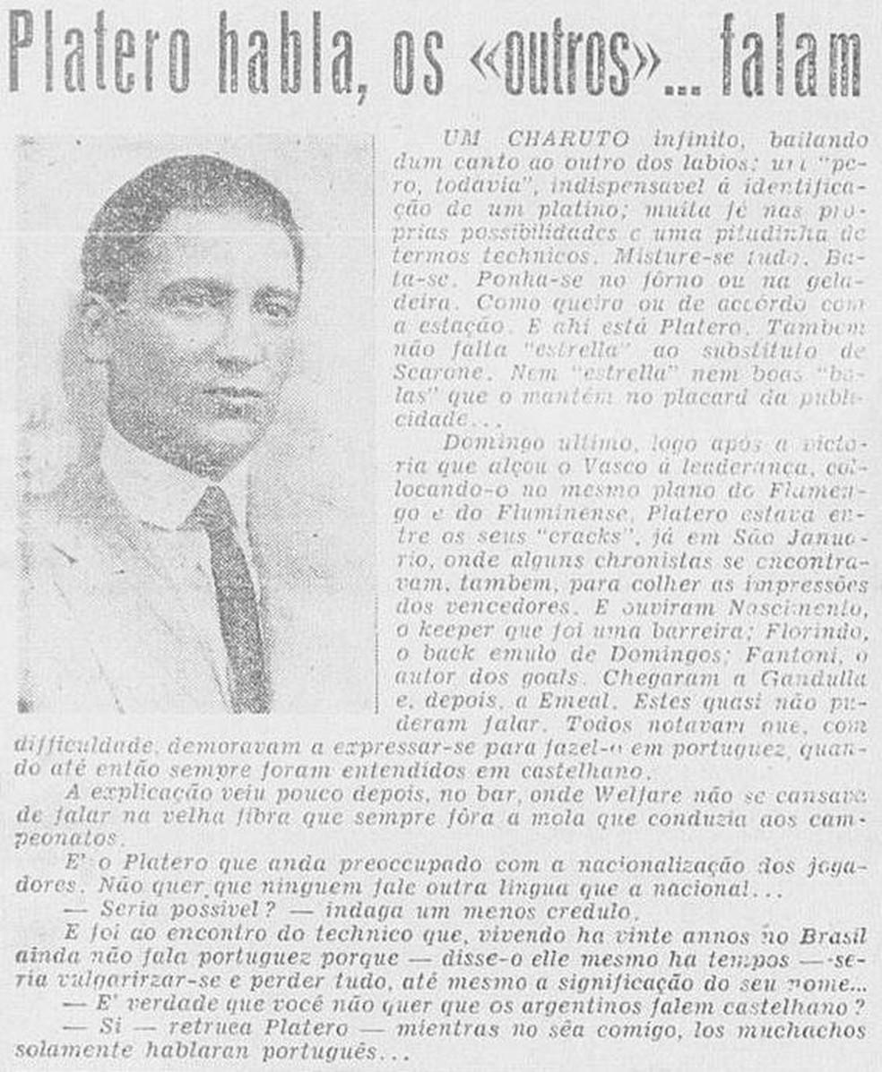 Jornal mostrava que Platero continuou falando espanhol mesmo há 20 anos no Brasil — Foto: Reprodução / Globo Sportivo