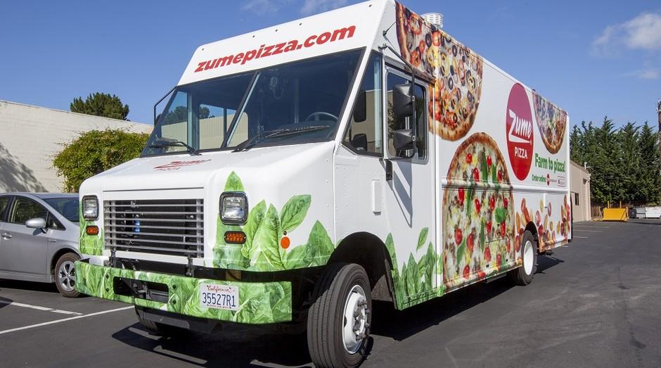 Caminhão da Zume Pizza, que produz e assa as pizzas sem auxílio de funcionários (Foto: Divulgação)