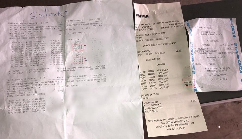 Saques duplos de mesmo valor feitos na lotérica foram descobertos pela família através de extratos — Foto: Juliana Gorayeb/G1
