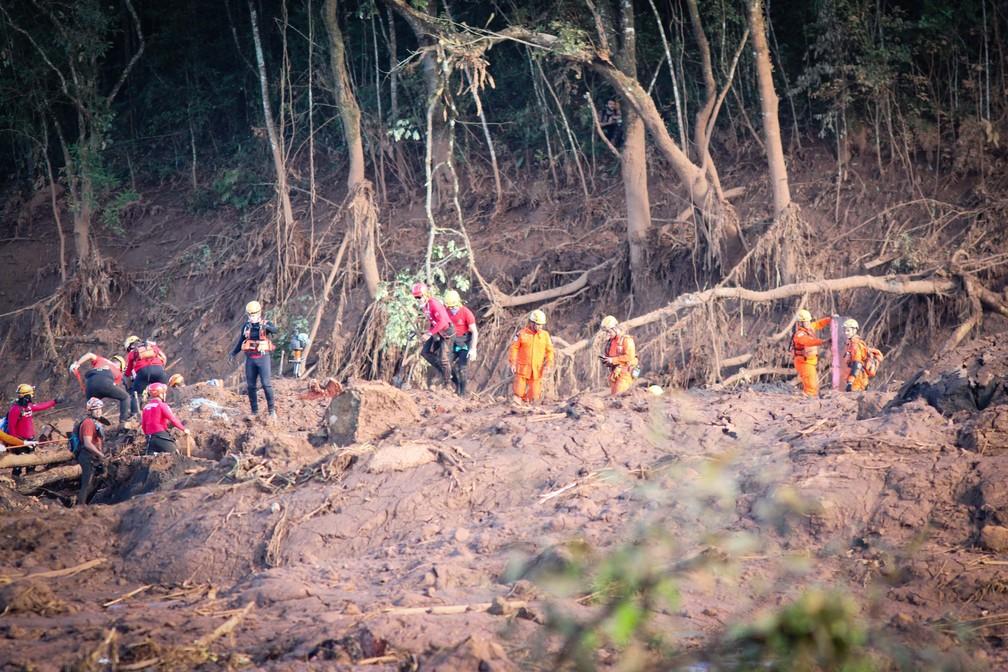 Bombeiros e voluntários seguem trabalhos de buscas em região atingida pela lama após rompimento de barragem em Brumadinho  — Foto: Fernando Moreno/Futura Press/Estadão Conteúdo