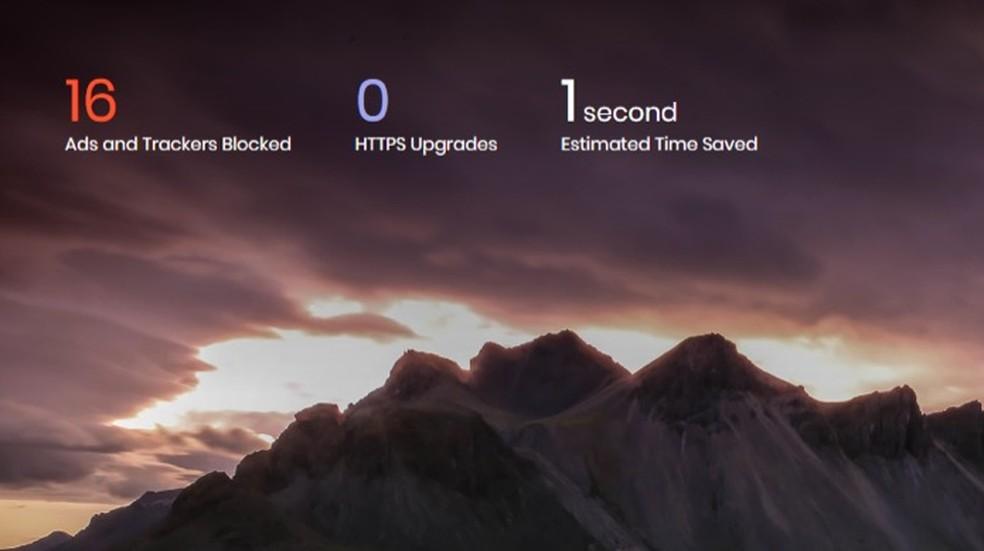 Informações apresentadas na tela inicial do navegador Brave — Foto: Reprodução/Marvin Costa