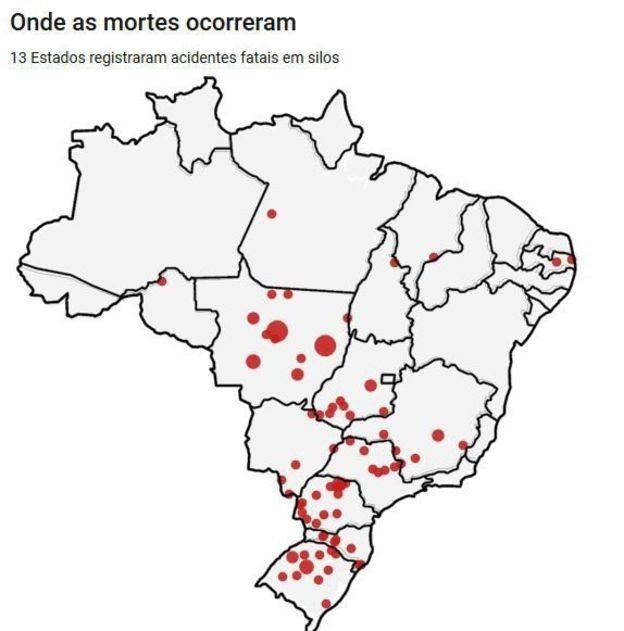 Mato Grosso (28 mortes), Paraná (20), Rio Grande do Sul (16) e Goiás (9) foram Estados com mais casos (Foto: BBC News Brasil)