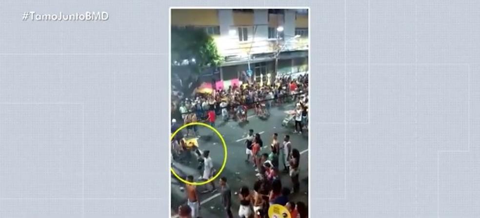 Confusão ocorreu no circuito Osmar (Campo Grande), na sexta-feira (1º) — Foto: Reprodução/ TV Bahia