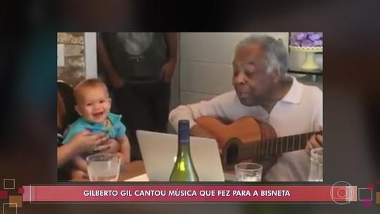 Gilberto Gil canta música fofa para bisneta Sol de Maria, neta de Preta Gil; veja vídeo