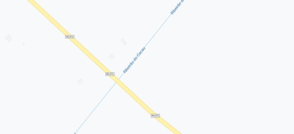 Linha 473 em Alvorada do Oeste (RO), onde corpo de mulher foi encontrado por pescadores — Foto: Reprodução/Google Maps