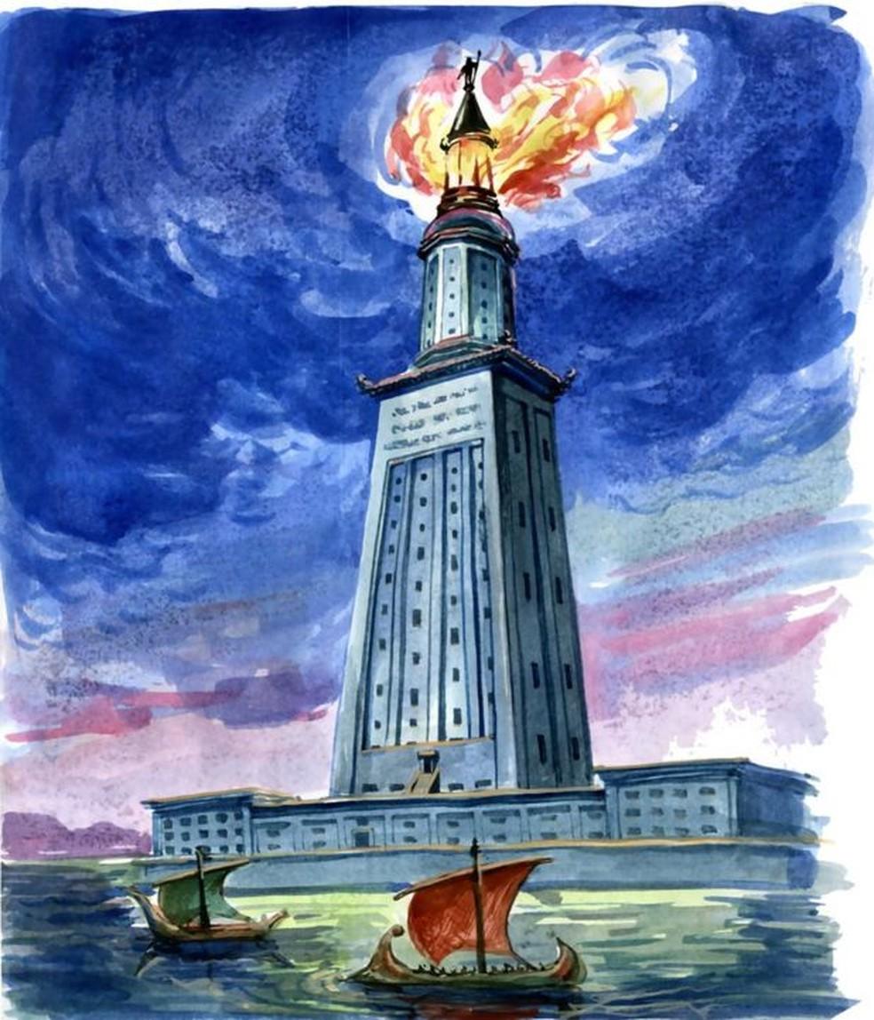 Acredita-se que o Farol de Alexandria tinha pouco menos de 140 metros de altura, o que o torna a segunda maior estrutura feita pelo homem na Antiguidade — Foto: Getty Images via BBC