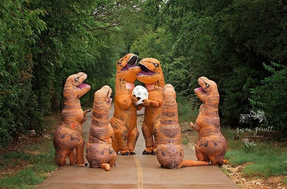 Anúncio de gravidez dinossauro (Foto: Susan Garrett Fotografia)