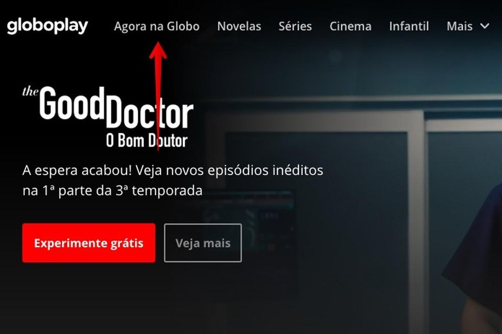 Acessando a programação ao vivo da Globo — Foto: Reprodução/Helito Beggiora