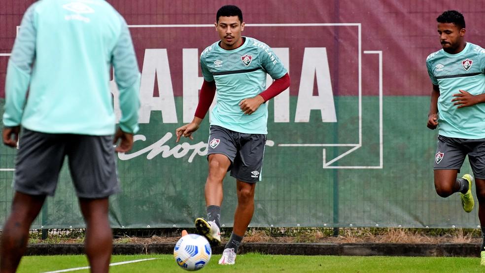 André em treino do Fluminense no CT Carlos Castilho — Foto: Mailson Santana / Fluminense FC