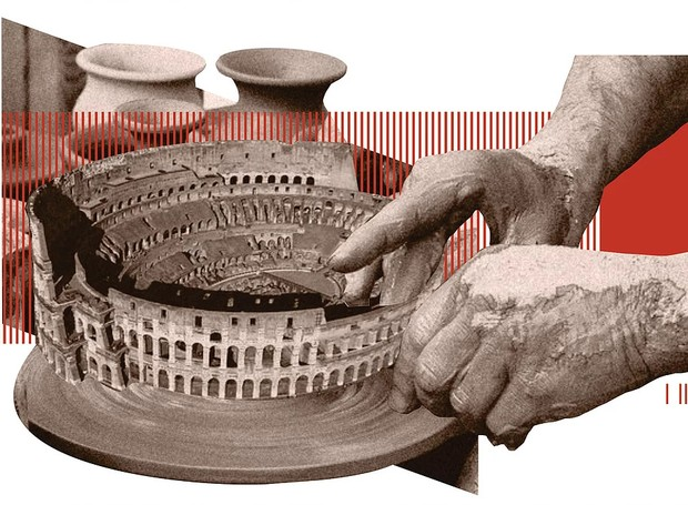 O Coliseu, de Roma, foi transformado em vaso de cerâmica (Foto: Filipe Vasconcelos/ Reprodução)