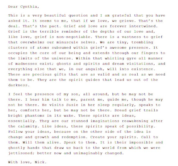 Mensagem de Nick Cave (Foto: Reprodução / The Red Hand Files)