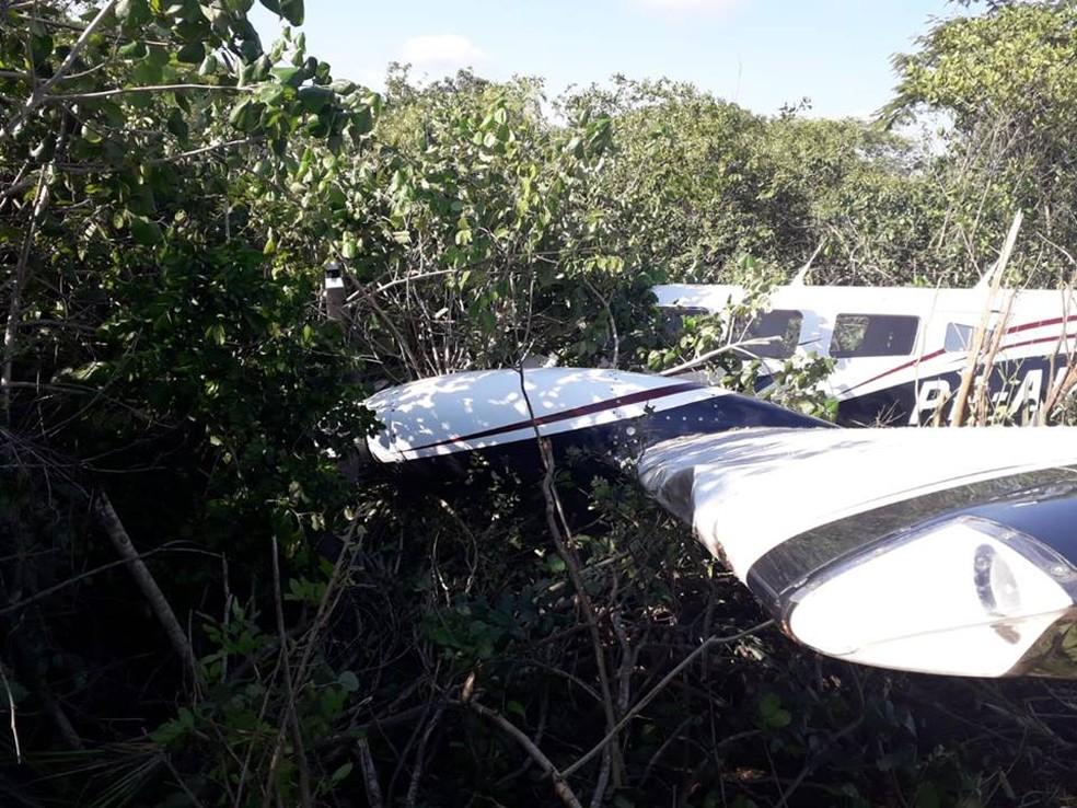 Aeronave fez pouso forçado em área de mata em Peruíbe (SP) — Foto: Divulgação/Corpo de Bombeiros