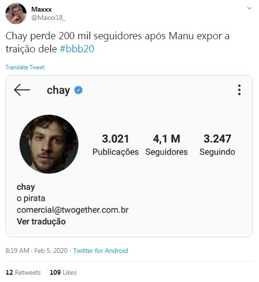 Internauta mostra perda de seguidores de Chay Suede após revelação de Manu Gavassi no 'BBB' (Foto: Reprodução)