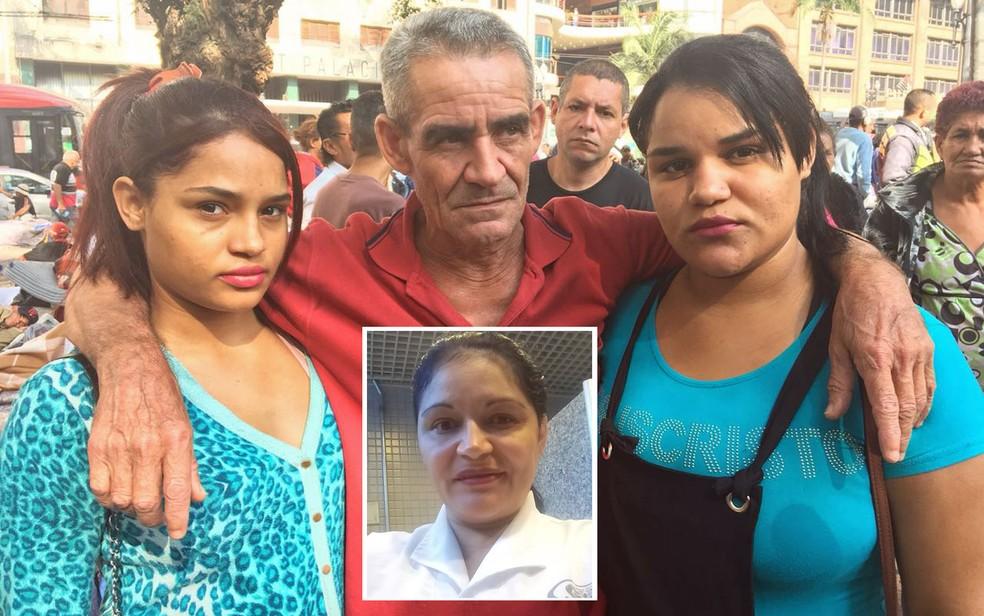 Edivânia, Evaneide e Manoel procuram Eva Barbosa da Silveira, que morava no prédio com as duas jovens (Foto: Giba Bergamin Jr./TV Globo)