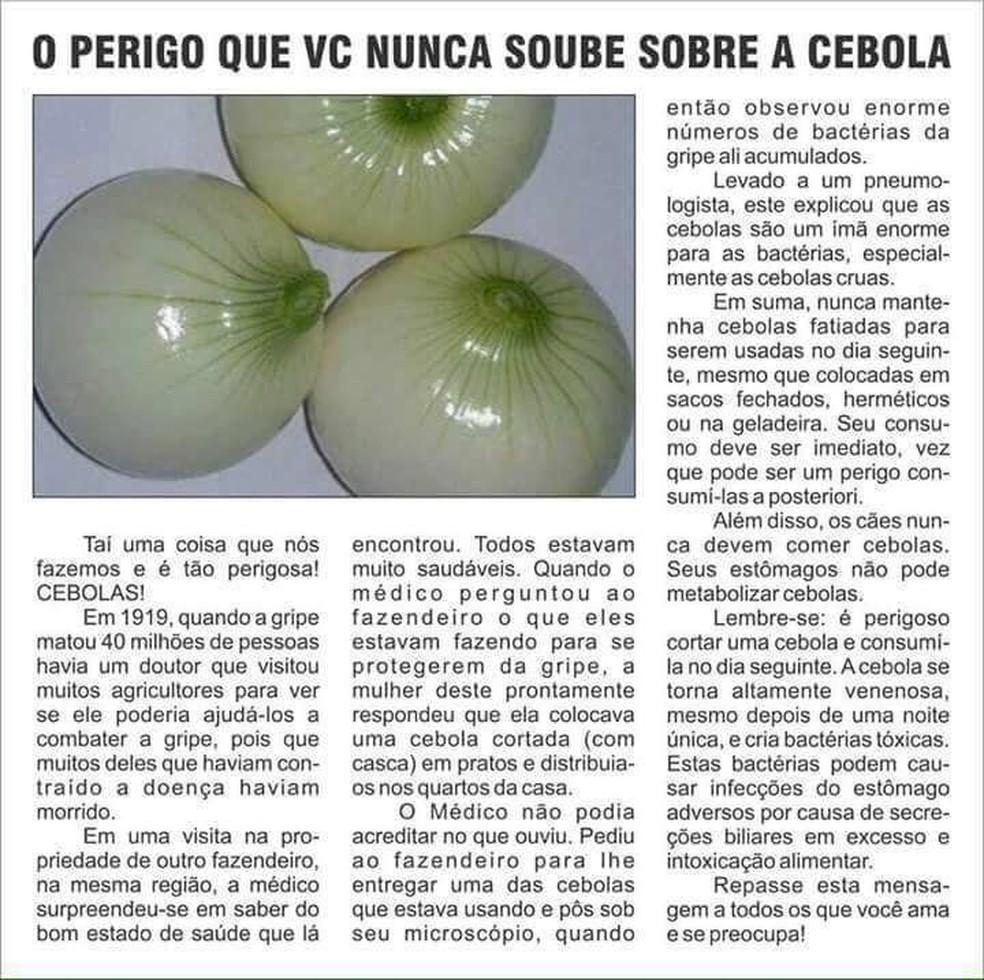Texto que circula sobre os perigos da cebola (Foto: Reprodução)