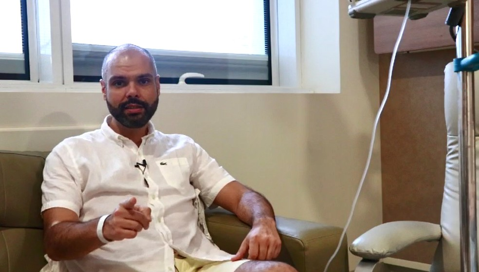 Bruno Covas no Hospital Sírio-Libanês durante a internação, em novembro de 2019.  — Foto: Divulgação/Prefeitura de SP