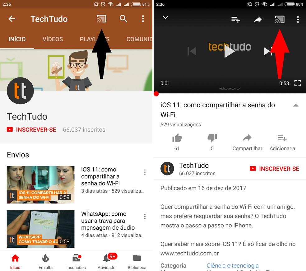 Como enviar vídeos do YouTube no celular para uma smart TV AOC | TVs