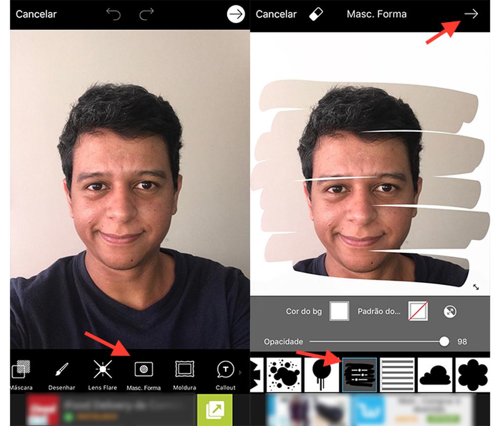 Caminho para acessar a ferramenta de recortes artísticos do app PicsArts (Foto: Reprodução/Marvin Costa)