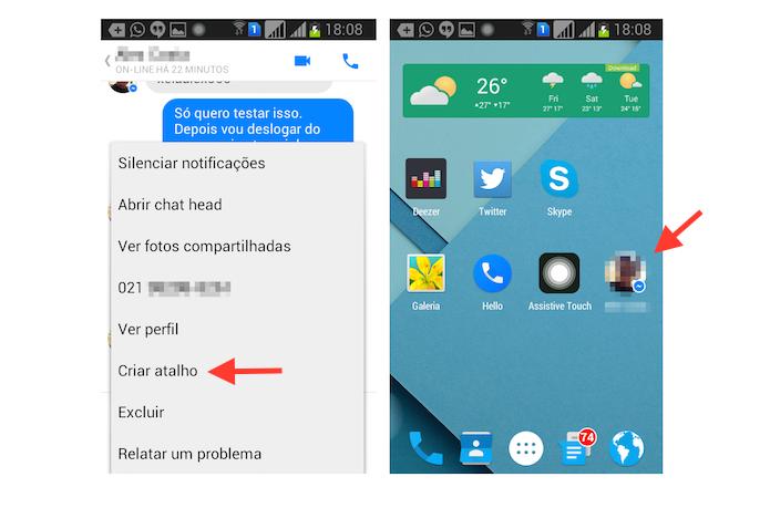 Criando um atalho para um chat com um contato no Facebook Messenger para Android (Foto: Reprodução/Marvin Costa)