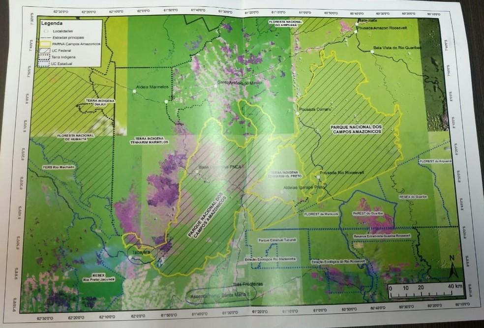 Áreas que podem ser afetadas pela Usina Tabajara, em RO. — Foto: Diêgo Holanda/G1