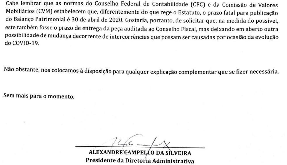 Ofício de Campello ao Conselho Fiscal — Foto: Reprodução