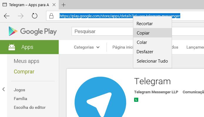 Copie a URL do aplicativo no Google Play (Foto: Reprodução/Helito Bijora)