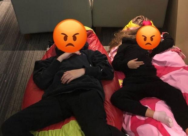 Filhos de Luciano Huck e Angélica dormem no aeroporto (Foto: Reprodução/Instagram)