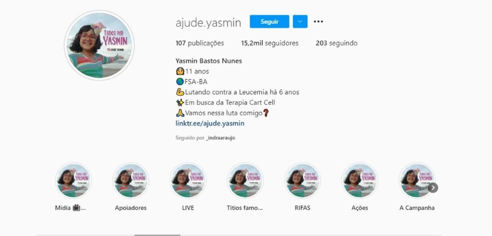 """Em uma rede social, o perfil da campanha """"Ajude Yasmin"""" tinha 15,2 mil seguidores até a tarde de terça-feira (8). — Foto: Reprodução / Redes Sociais"""