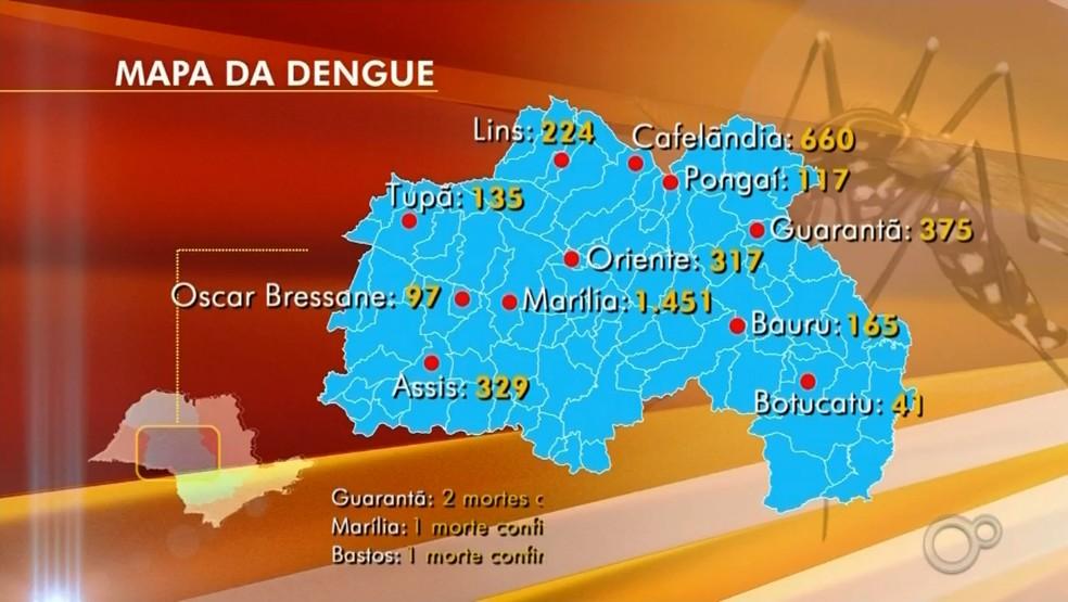 Casos de dengue também estão sendo registrados em outras cidades do centro-oeste paulista conforme dados divulgados pelas prefeituras — Foto: Reprodução/ TV TEM