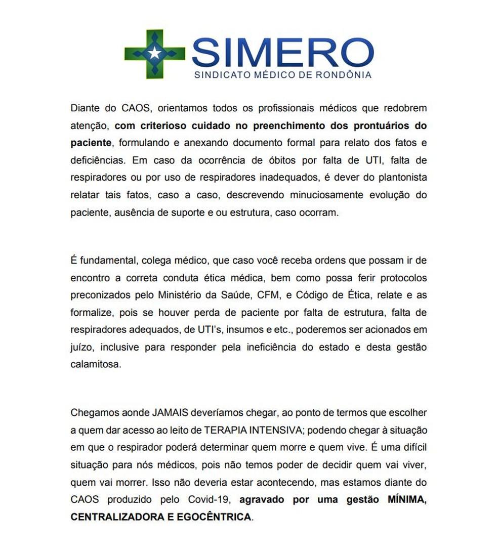 Simero critica em nota gestão da crise do coronavírus no estado — Foto: Reprodução