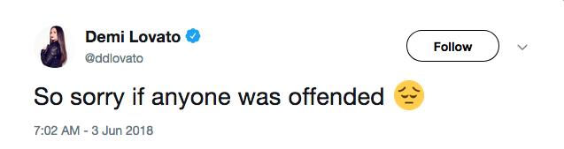 O pedido de desculpas de Demi Lovato por sua declaração polêmica no Twitter (Foto: Twitter)