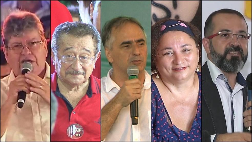 Candidatos ao Governo da PB nas Eleições 2018, em ordem alfabética: João Azevedo (PSB), José Maranhão (MDB), Lucélio Cartaxo (PV), Rama Dantas (PSTU), Tárcio Teixeira (PSOL) — Foto: Reprodução/TV Cabo Branco