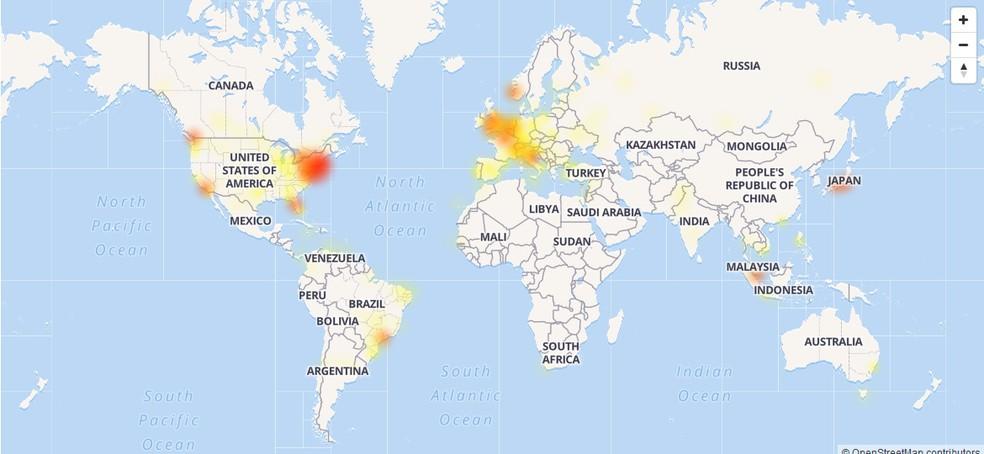 Mapa mostra volume de reclamações relacionadas ao Instagram por volta das 12h desta quinta (Foto: Reprodução/Down Detector)