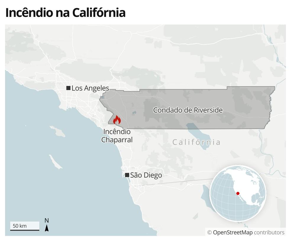 Incêndio no condado de Riverside na Califórnia— Foto: G1 Mundo