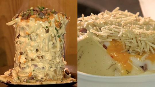 Torre de batatas x batata recheada, qual você gosta mais?