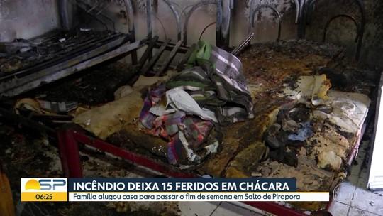 Incêndio deixa 15 feridos em chácara em Salto de Pirapora