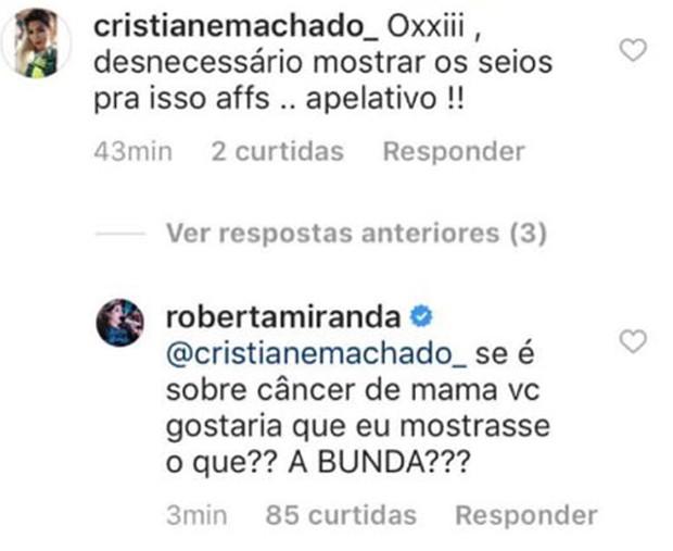 Roberta Miranda respondendo internauta que a criticou no Instagram (Foto: Reprodução/Instagram)