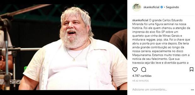 Skank lamenta morte de Carlos Eduardo Miranda (Foto: Reprodução/Instagram)