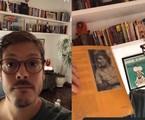 Fabio Porchat mostrou nas redes detalhes de seu apartamento no Rio. No escritório, prateleiras cheias de livros | Reprodução