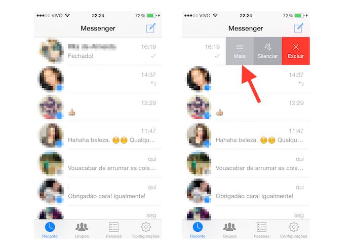 Acessando as configurações extras de mensagens do Facebook Messenger no iOS (Foto: Reprodução/Marvin Costa)