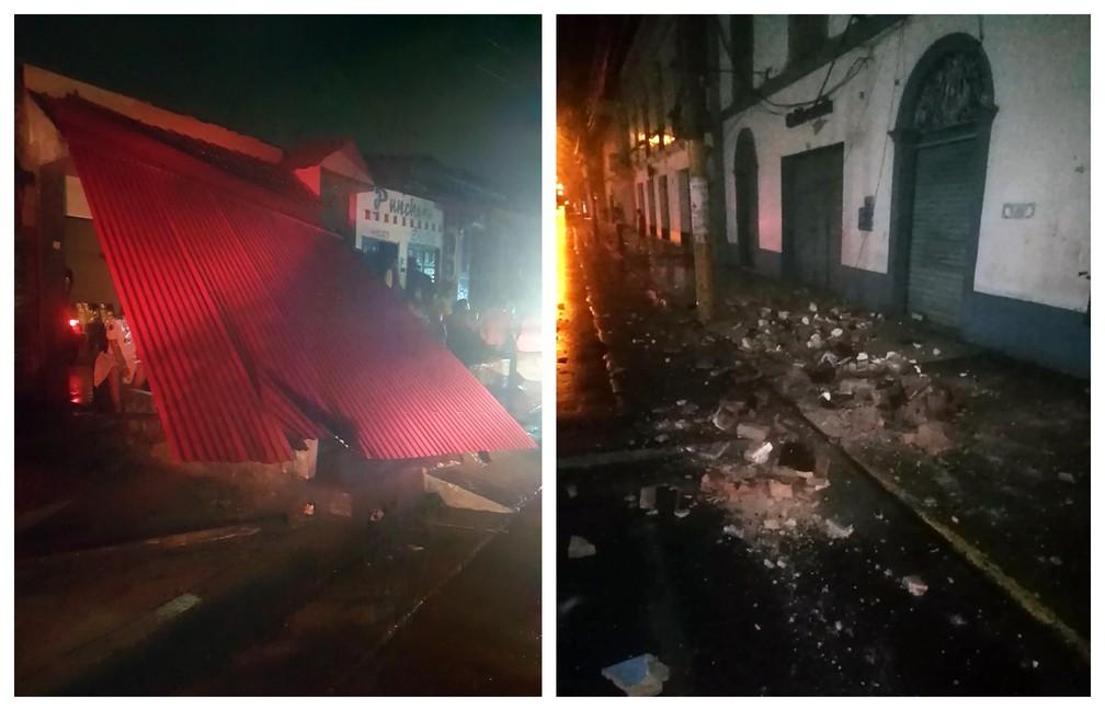 Danos causados pelo terremoto em Yurimaguas, no Peru. — Foto: HO / Peru's Fire Department / AFP