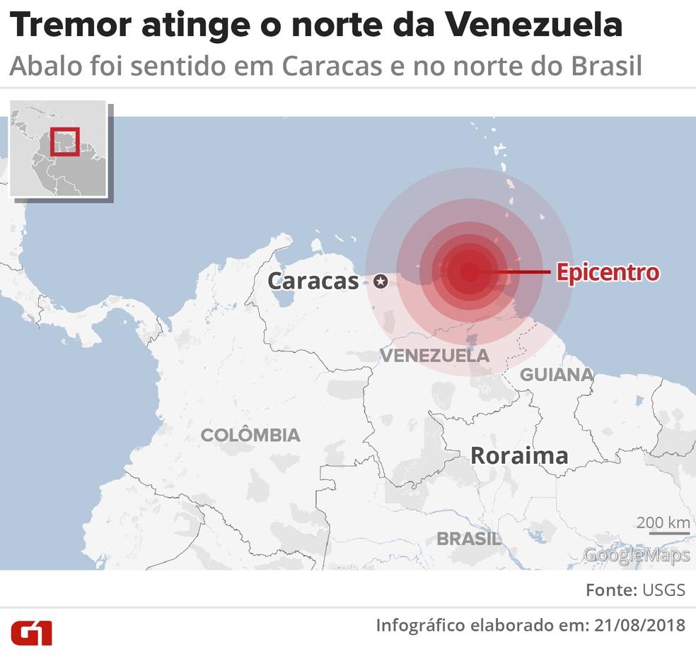 Mapa mostra onde foi o tremor no norte da Venezuela (Foto: Infografia: Igor Estrella/G1)