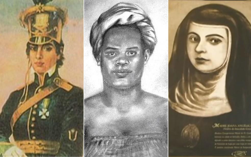 Maria Quitéria, Maria Felipa e Joana Angélica se destacaram no século XIX nas lutas para vencer as tropas portuguesas — Foto: Arte/G1