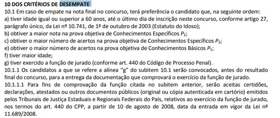 Critérios de desempate do concurso do INSS de 2015 — Foto: Reprodução/Cebraspe