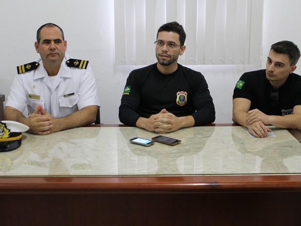 Delegado da PF e Civil e capitão da Marinha falam sobre operação (Foto: Júnior Freitas/ G1)